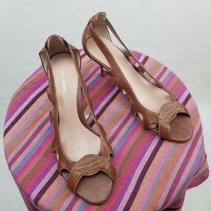 Calvin Klein Brown Leather Heels Size 6